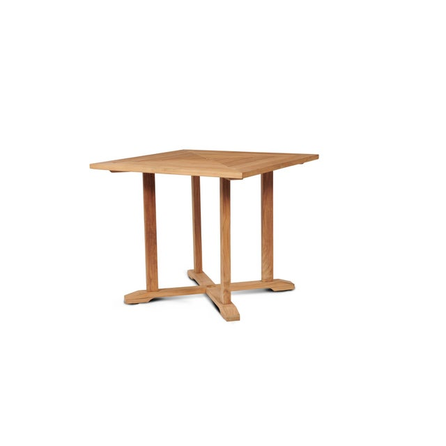 Contemporary Avery Square Teak Outdoor Dining Table with Umbrella Hole For Sale - Image 3 of 3