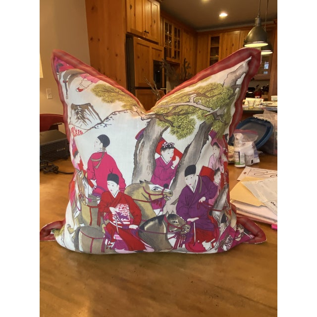 "4 custom-tailored pillows in French Manuel Canovas ""Les Caveliers"" printed linen fabric. Pillows are accented with a..."