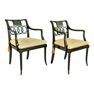 1940s Vintage Baker Furniture Hollywood Regency Accent Chairs- A Pair For Sale