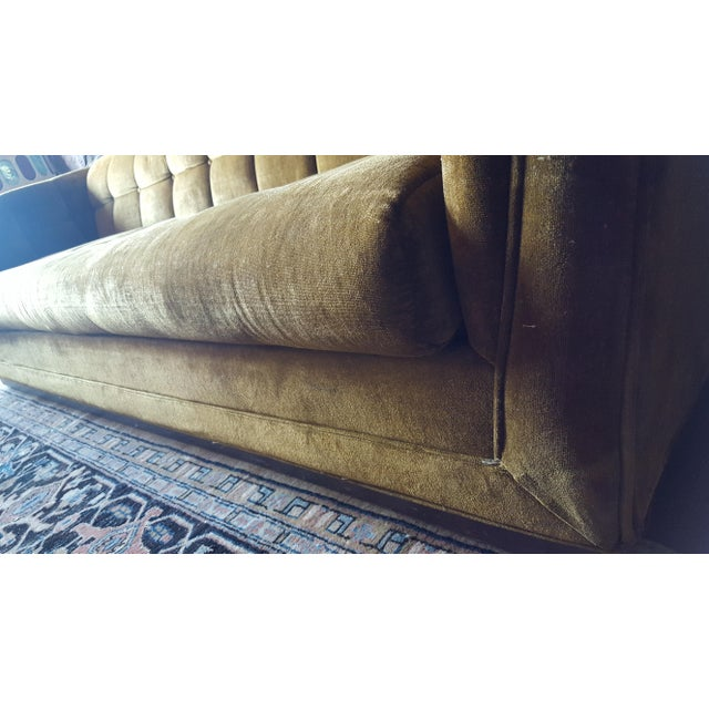 Metal Mid-Century Modern Citron Yellow Velvet Tufted Sofa For Sale - Image 7 of 12