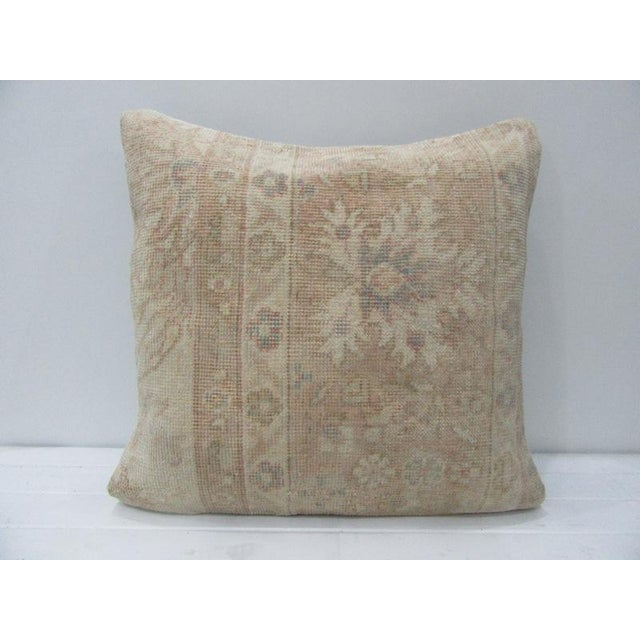 Vintage Turkish Tan & Beige Floral Cushion Cover For Sale - Image 4 of 4