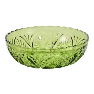 Mid Century Modern Green Glass Medallion Centerpiece Bowl For Sale
