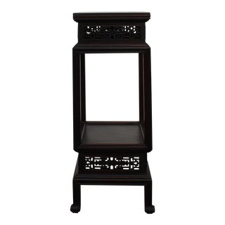 Chinese Huali Dark Brown Square Carving Plant Stand Pedestal Table