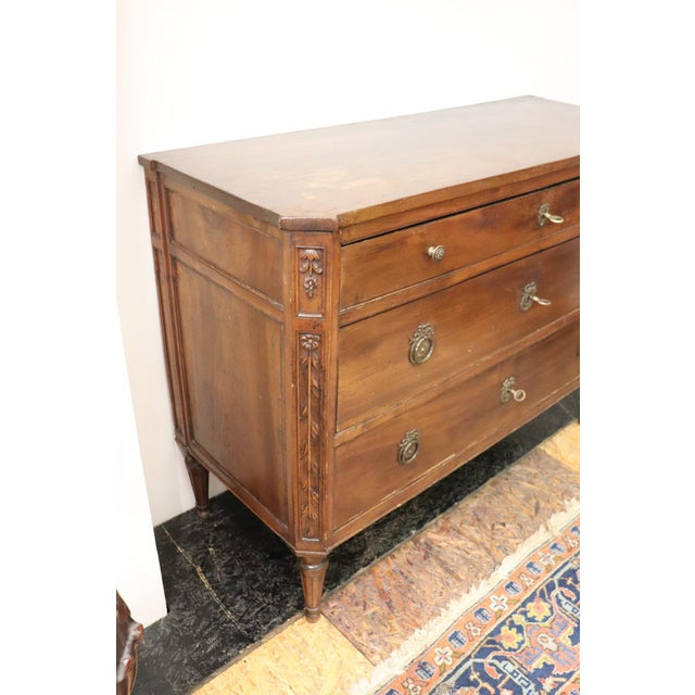 Late 18th Century 18th Century Italian Louis XVI Walnut Commode or Chest of Drawer For Sale - Image 5 of 13