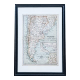 Hand Colored Antique Map of S. South America For Sale
