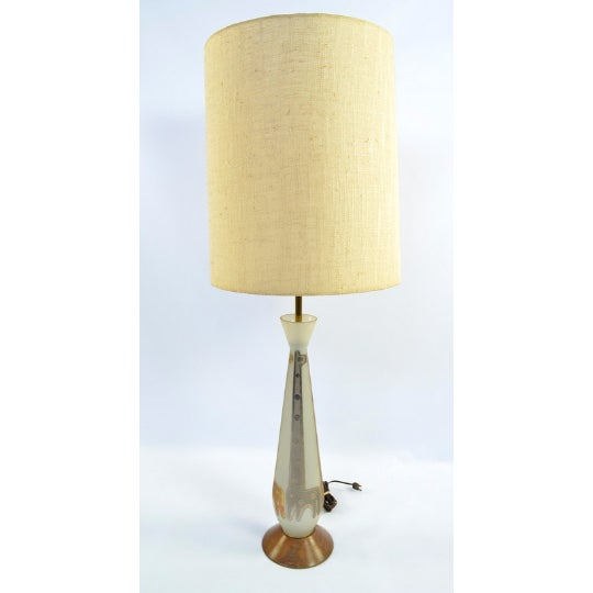 Frosted Glass Gold Giraffe Lamp with Wooden Base - Image 2 of 5