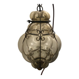 Venetian Pear Shaped Blown Glass Pendant Light For Sale