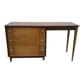 Vintage Blonde Teak & Walnut Paul McCobb Era Writing Desk For Sale
