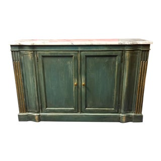 1950s Shabby Chic Marble Top Green Console Table