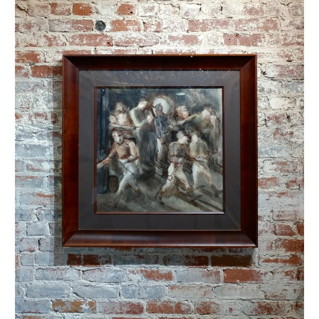 Carl Hugo Beetz- Jockeys - MIX Media Painting- C1939 For Sale - Image 9 of 9