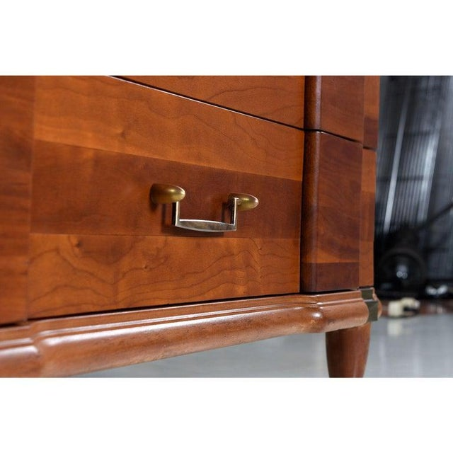 Metal Cherry Bachelors Chest by Hickory Mfg With Brass Bullet Shaped Handles For Sale - Image 7 of 10
