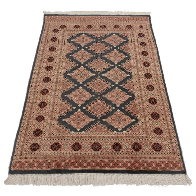 RugsinDallas Hand Knotted Wool & Silk Bokhara Rug - 3′11″ × 6′1″ - Image 2 of 3