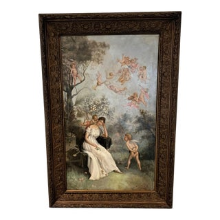 19th Century Angels With a Lady Signed Oil on Canvas Painting, Framed For Sale