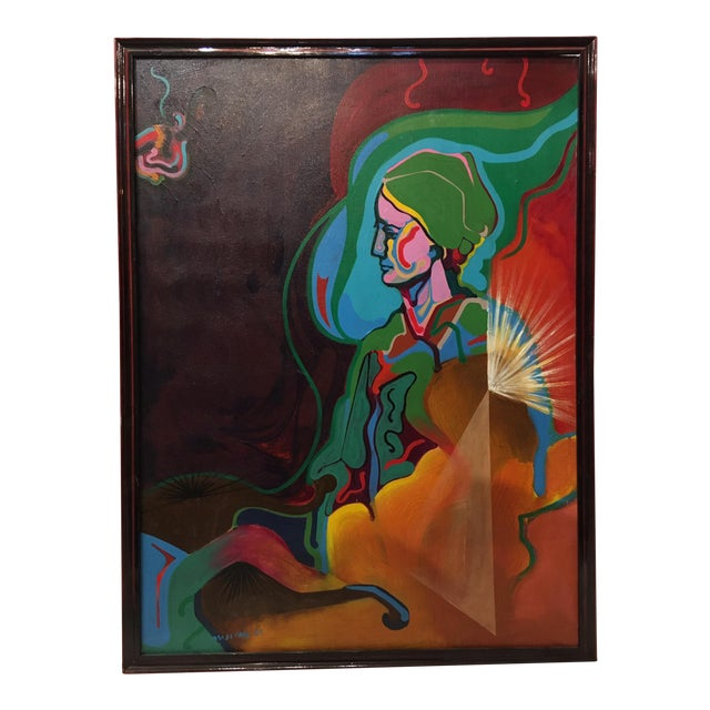 Vintage Mid-Century Colorful Figurative Abstract Oil on Canvas Portrait Painting For Sale