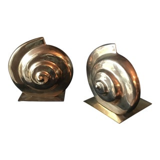 Nautilus Brass Shell Bookends - a Pair For Sale