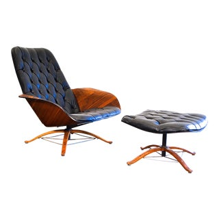 1960s Vintage George Mulhauser for Plycraft Mr Chair Lounge Chair & Ottoman For Sale
