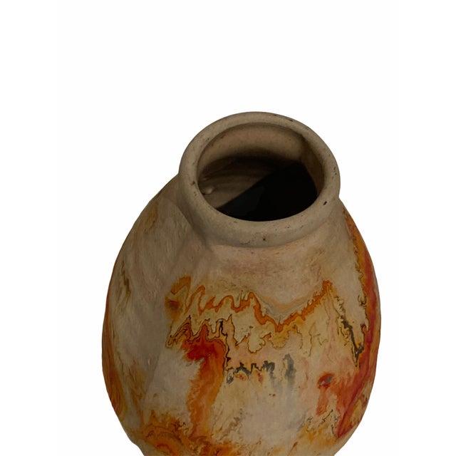 Vintage Indian Nemad Orange Brown Pottery Vase For Sale - Image 4 of 6