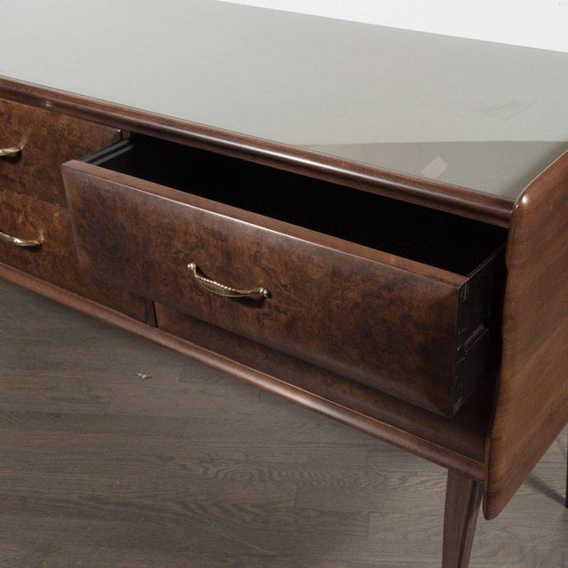 Metal Italian Midcentury Chest in Walnut with Stylized Brass Pulls and Vitrolite Top For Sale - Image 7 of 10