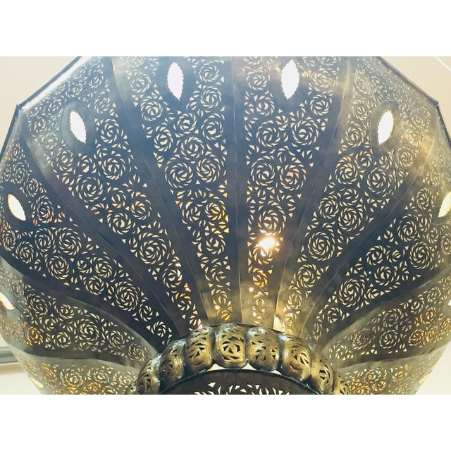 Large Brass Moroccan Chandelier For Sale - Image 11 of 12