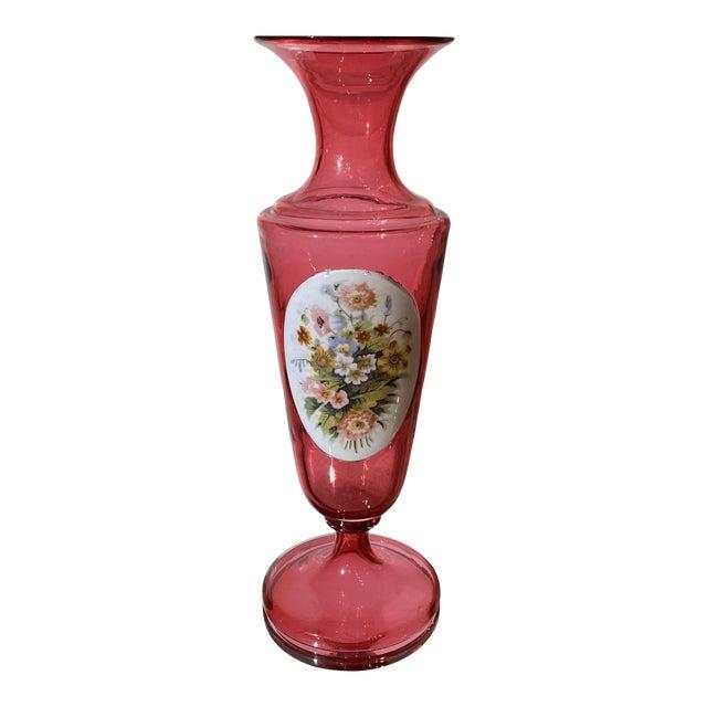 Antique Moser Cranberry Art Glass Flower Vase For Sale