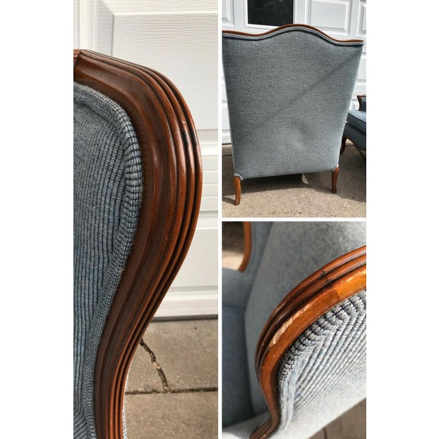Vintage Light Blue Upholstered Bergere Chairs - A Pair - Image 7 of 10