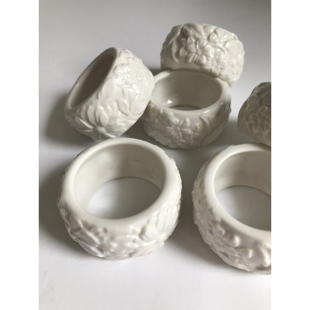I love the floral pattern carved into these vintage white ceramic napkin rings. Add a touch of class to your Sunday brunch...