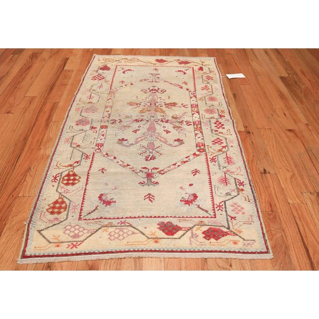 Textile Antique Shabby Chic Tribal Turkish Ghiordes Rug - 3′5″ × 6′6″ For Sale - Image 7 of 10