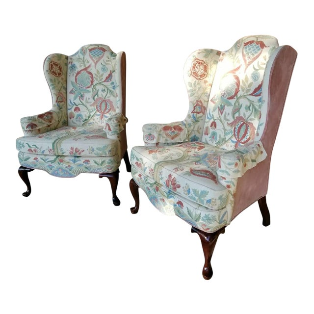 Vintage Woodmark Original Embroidered Wingback Chairs A