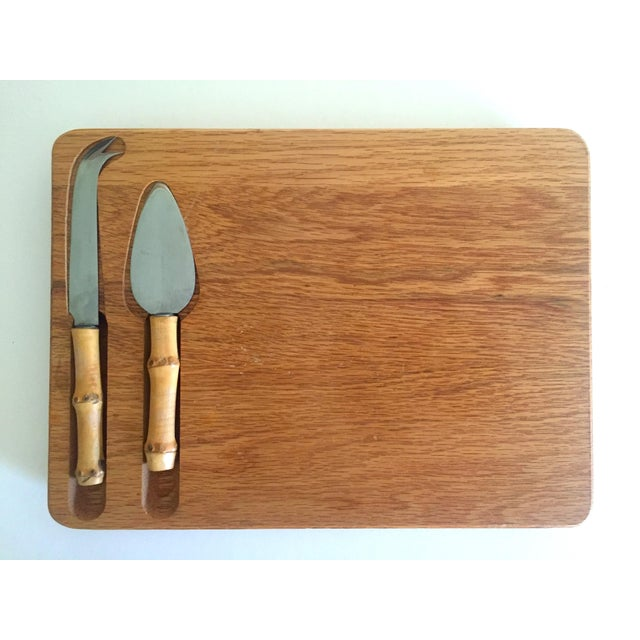 Vintage Mid Century Modern Japan Fruit / Cheese Board & Bamboo Knives - 3Pc Serving Set For Sale - Image 10 of 13