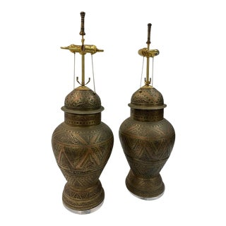 Large Mid 20th Century Moroccan Cast Brass and Copper Lidded Urn Lamps - a Pair For Sale