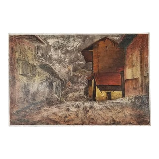 """1970's Expressionist Painting """" Huiro Calle """" by Alezandro For Sale"""