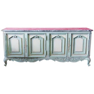Large Louis XV Style Gustavian Style Marble Top Sideboard
