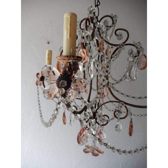 Pink French Pink Maison Baguès Style Crystal Flower Chandelier For Sale - Image 8 of 11