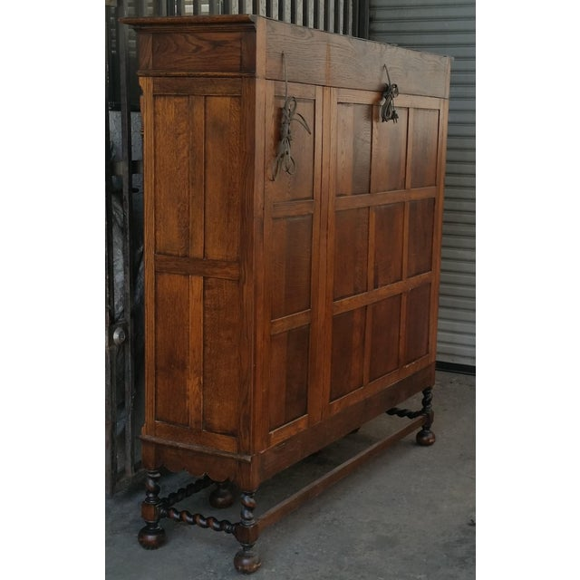 Antique Oak Barley Twist Bookcase Display China Cabinet / Bookcase Hutch For Sale - Image 4 of 12