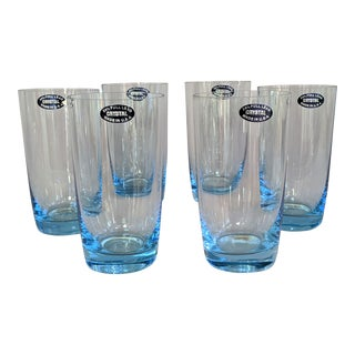 Brillant Blue Crystal Highball Glasses - Set of 8 For Sale