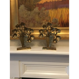 Mid Century Brass Tulip Bouquet Bookends - a Pair Preview