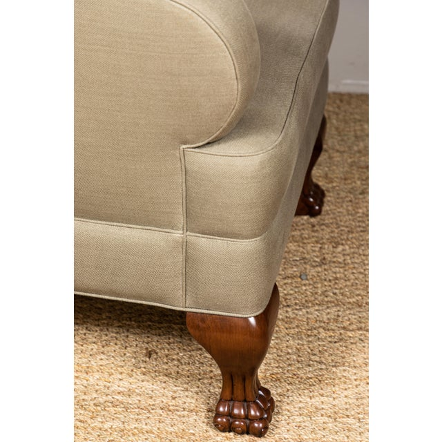 Pat McGann Linen Upholstered Bear-Claw Chair For Sale - Image 4 of 8