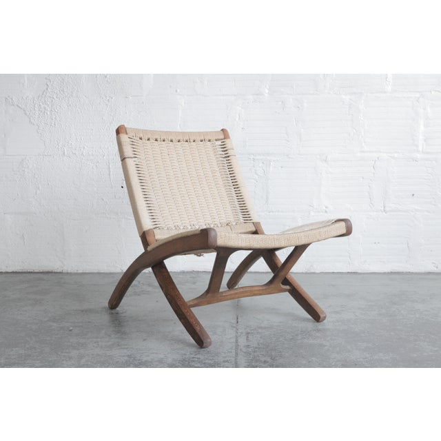 Wood Early 20th Century Cord Lounge Chair For Sale - Image 7 of 8