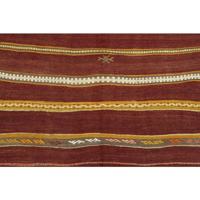 Wine Anatolian Kilim Tribal Turkish Kilim Rug-4′8″ × 6′1″ For Sale - Image 8 of 13