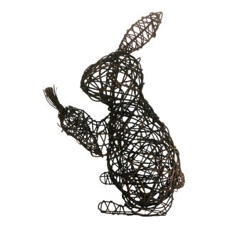 Standing Rabbit With Carrot Topiary Vine Covered Form For Sale