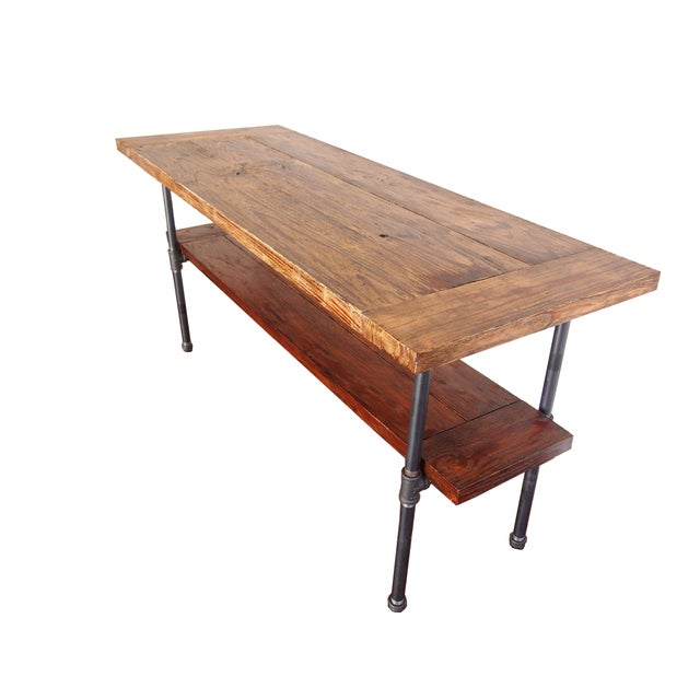 Industrial Style Distressed Wood & Steel Pipe Table | Chairish