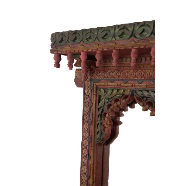 Asian Wooden Carved Hand Painted Jharokha Wall Mirror Frame For Sale - Image 3 of 3