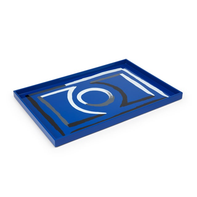 Contemporary Luke Edward Hall Collection Large Etienne Tray in Blue For Sale - Image 3 of 3