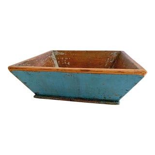 19th Century Farmhouse Blue Treenware Bowl For Sale