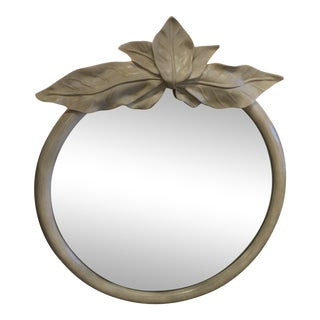 Vintage Tropical Palm Beach Leaf Leaves Round Wall Mirror For Sale