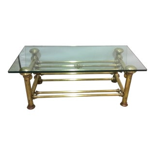 Vintage Brass & Glass Coffee Table For Sale