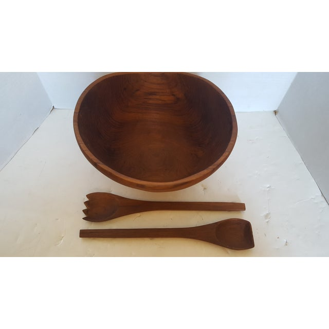 Thailand Teak Bowl With Servers - Image 3 of 4