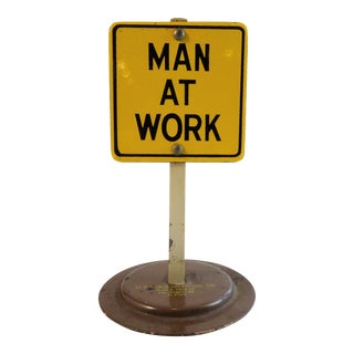 "Vintage ""Men At Work"" Enamel Sign"