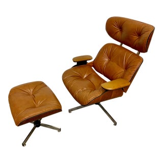 1960's Eames Era Tan and Brown Lounge Chair & Ottoman For Sale