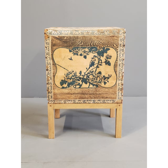 A beautiful and rare Japanese shipping crate for tea, converted into a functional side accent table. The tea crate dates...